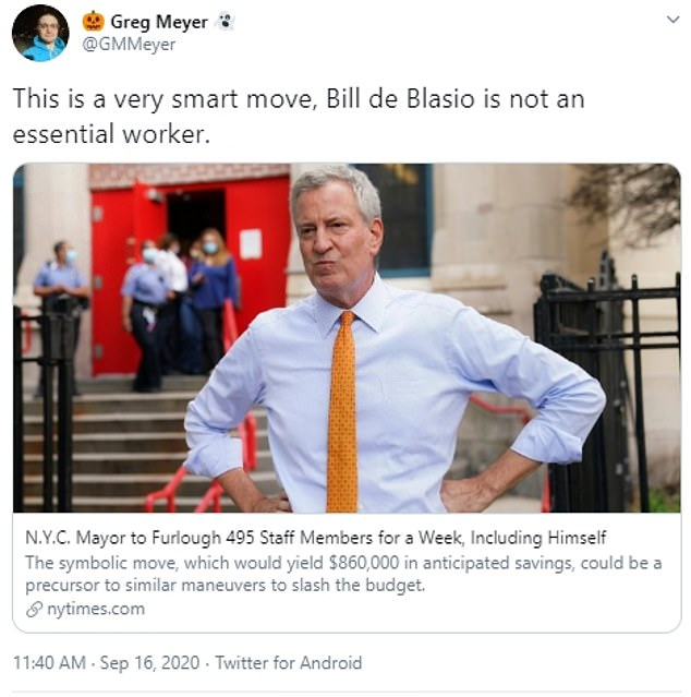 'This is a very smart move, Bill de Blasio is not an essential worker,' tweeted one Twitter user
