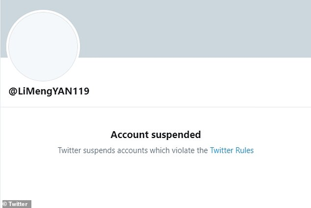 The Twitter account remained down on Wednesday and a message on the page now reads: 'Account suspended. Twitter suspends accounts which violate the Twitter Rules.' Twitter has not commented on the suspension of Yan's account