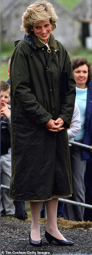 Princess Diana in a long-line Barbour