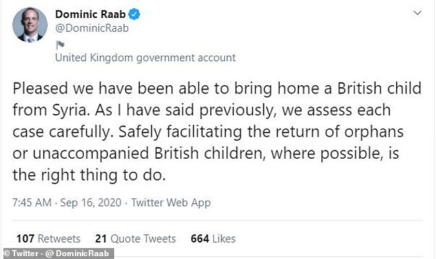 The Foreign Secretary also took to Twitter to announce the news that a British child had been repatriated