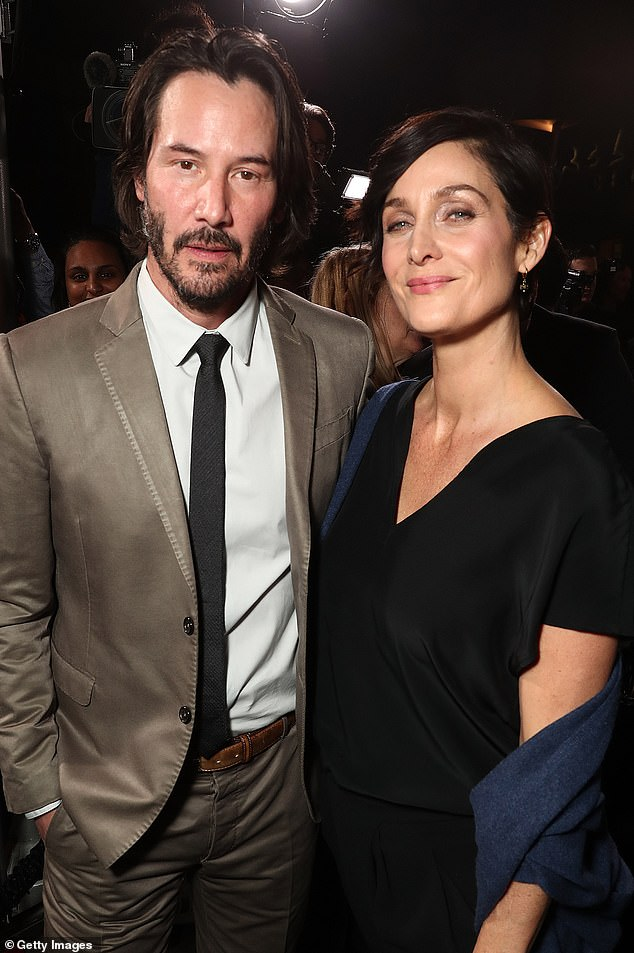 Keanu said: 'I'm having the great fortune, thankfully, working on another Matrix film' (pictured with Carrie-Ann in 2017)