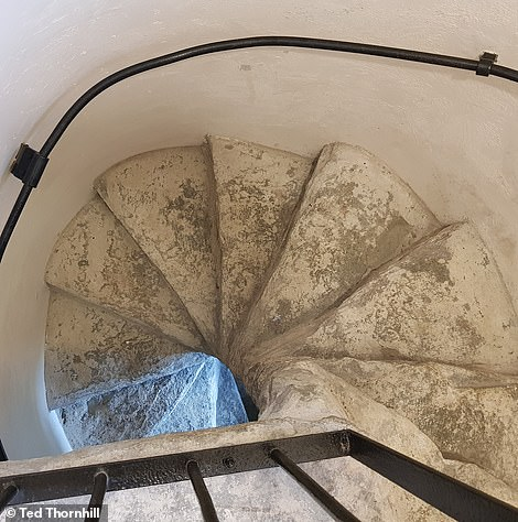The narrow spiral stairs leading up to the Speel bedroom