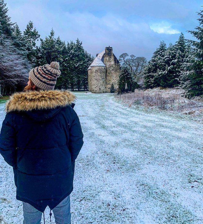 Tantalisingly, you can't see the castle from the road, writes Ted – at least not clearly. Instead, it springs forth like a cut-out in a pop-up book as you enter a gap in a wall of trees on a gravel driveway beyond a cluster of cottages. Pictured is Simon surveying his kingly domain