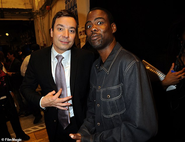 Pals: In a separate profile for The Hollywood Reporter , Rock brushed off Fallon's blackface as simply 'bad comedy,' saying Jimmy 'doesn't have a racist bone in his body.' They're seen together in 2009 above