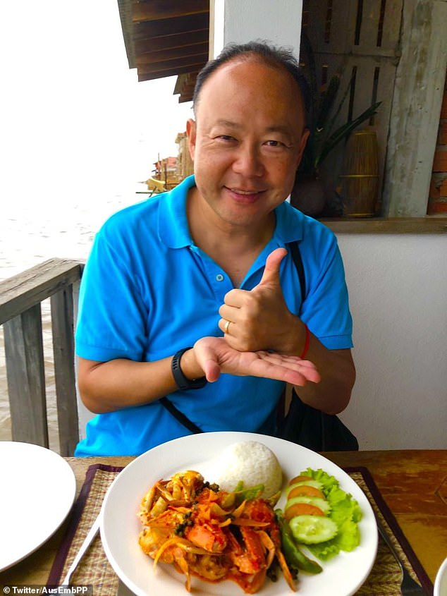 Pablo Kang, Australia's representative in Cambodia, was forced to issue a grovelling apology after posting photographs of his meal to Twitter while visiting the nation.