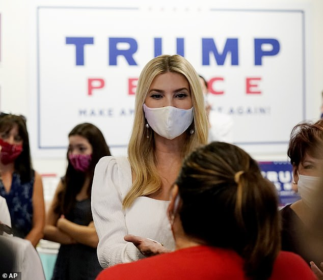 Secretly smiling? While the lower half of Ivanka's face was hidden behind her mask, she had a twinkle in her eye as she walked around and spoke to her father's supporters Sa