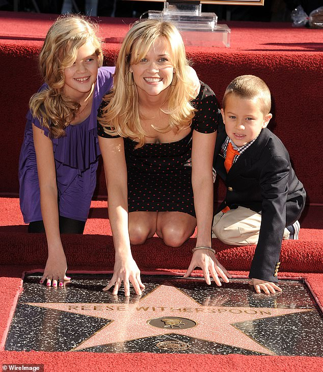Young mommy: Reese Witherspoon and Children Ava and Deacon attends the Reese Witherspoon Hollywood Walk Of Fame Star Induction Ceremony in 2010