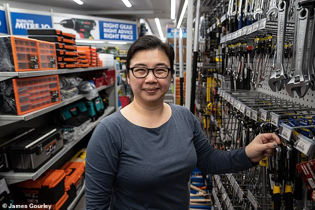 Women are leading Australia out of the coronavirus recession with unemployment falling in August for the first time since the health crisis - creating 111,000 new jobs.Pictured is Sydney Mitre 10 hardware manager Ching Ching