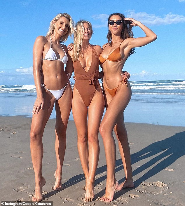 The Zac Efron effect? Instagram models are flocking to NSW celebrity enclave Byron Bay as the Queensland border is currently closed. Pictured (L-R): Laura Dundovic, Cassie Cameron and Shannon Lawson