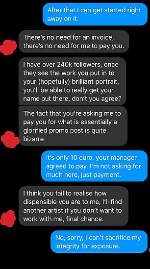 The influencer tried to get away with getting the art for free