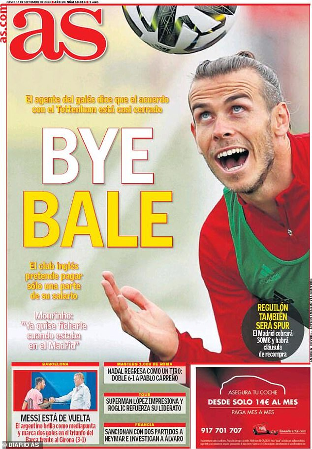 Gareth Bale's impending return to Tottenham dominates the front pages in Spain on Thursday