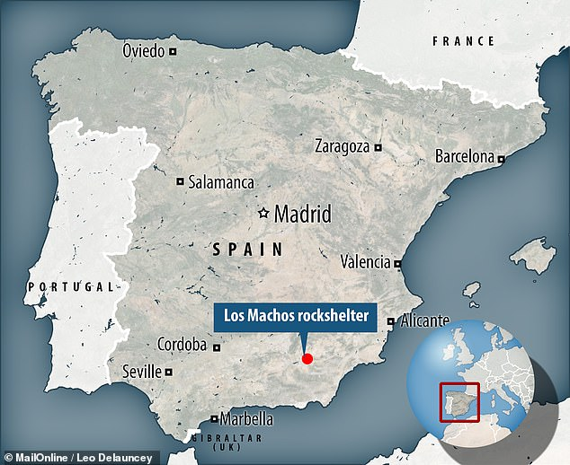 The Los Machos shelter in the province of Granada sports 32 ochre-coloured daubs of circular, geometric and human-like designs that date to around 5,500–2,500 BC