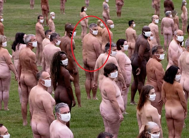 Krzysztof, circled in the shoot, said being naked around other people 'gives him confidence', adding that he enjoys the 'feeling of freedom'