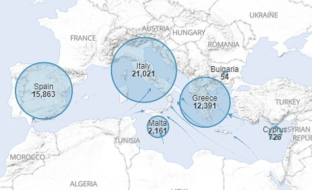 Data from the United Nations shows that so far this year47,379 migrants have arrived by sea into Italy, Greece, Spain, Cyprus and Malta