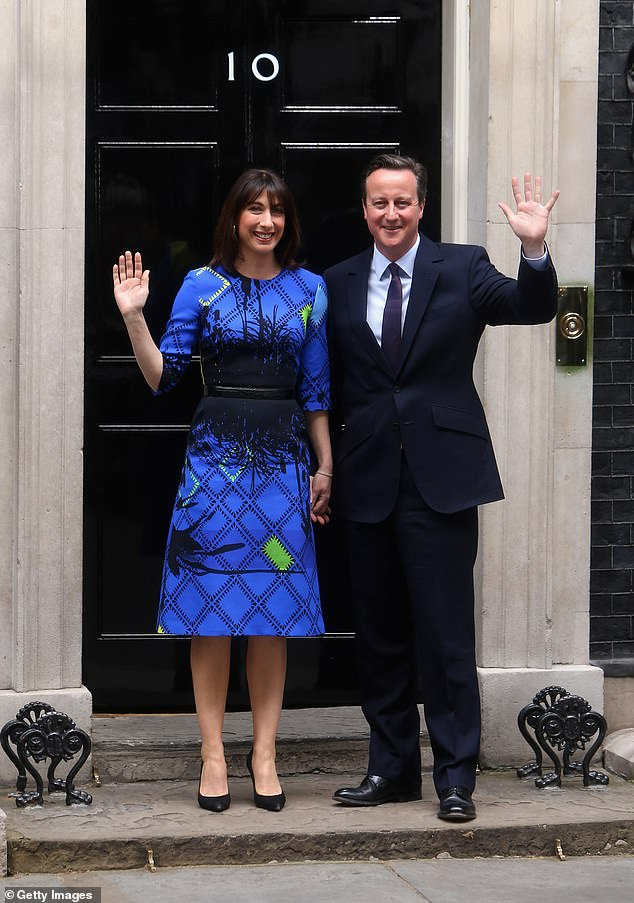 Samantha Cameron's election dress which she wore on the night of her husband David's 2015 victory sold - along with her husband's tie - for £625 at an auction in aid of the charity Smart Works