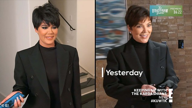 First time around:In a confessional, Khloe explained that 'months ago,' with the help of Scott and her older sister Kim Kardashian, she dressed up as Kris and posed for a slew of fake paparazzi images