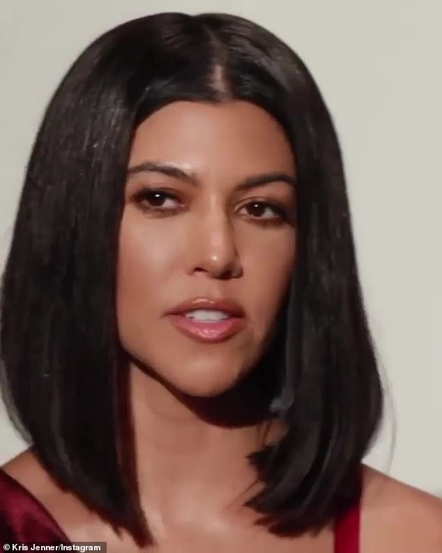 Delicious:While Kourtney said her Ruby Diamond scent smelled of 'floral, oriental, gourmand,' as she sat in a similar skirt to Kim but with an off-the-shoulder cropped top in a ruby red color