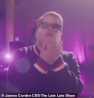 Safety first: Dua and James Corden (pictured) appeared in the highly stylised video together as they belted out safety rules