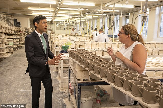Rishi Sunak (pictured on a visit to a pottery in Stoke-on-Trent this week) has said confidence will be critical for the recovery
