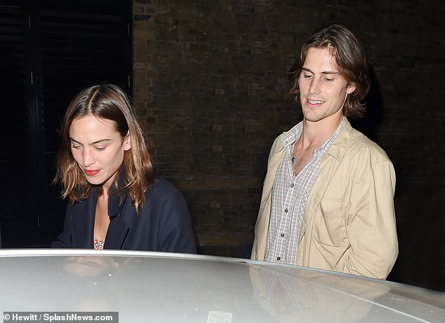 Smitten: Alexa Chung, 36, and her beau Orson Fry, 24 looked as smitten as ever on Thursday night, when they were spotted stepping out for a meal at London's Chiltern Firehouse