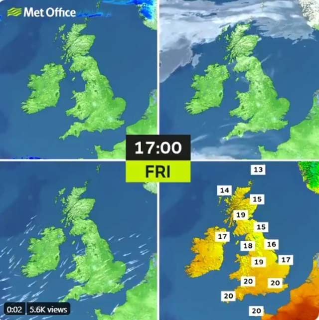 Met Office meteorologist Marco Petagna explained that the sun this week had been triggered by warm spells from countries in mainland Europe such as France and Spain