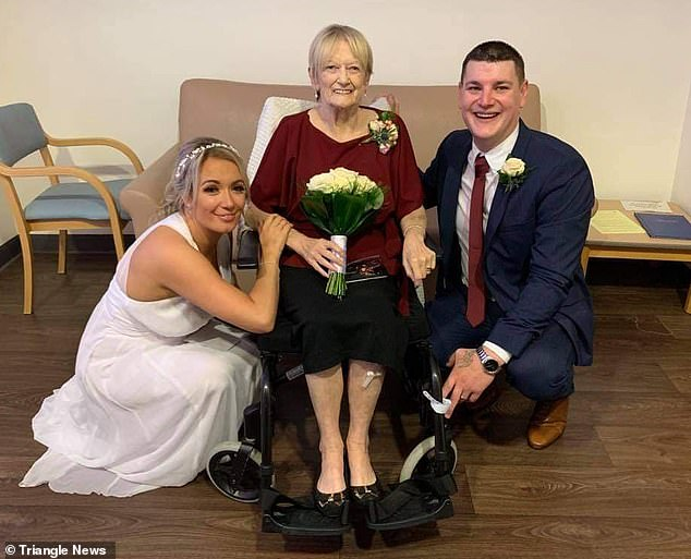 Mrs Lind and husband James got married in the hospital where her mother was being treated for lung cancer (above). Mrs Bridegwater Mail Online: 'When Nicole came in wearing a wedding dress I thought it was a joke. I just remember being so proud'