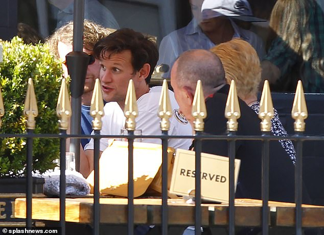 Chatty:Matt appeared to be in good spirits as he chatted away with his companions at the pub, as they relaxed together in the sun prior to the rule of six was introduced