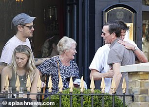 Hello there: Matt and his friend were seen giving hugs to a number of companions at the pub