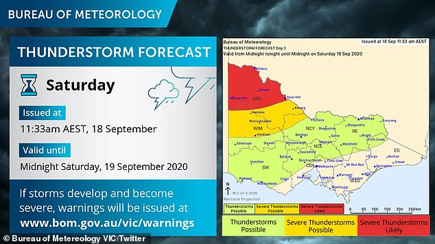 There are severe thunderstorm warnings in place for the northwest of Victoria