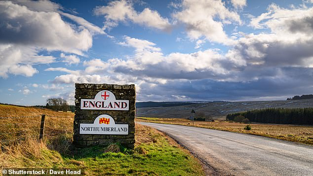 Tough new measures to control the spread of coronavirus were announced for the North East of England yesterday, bringing the total number of Britons under lockdown to around ten million. Pictured, marker stone for the English border