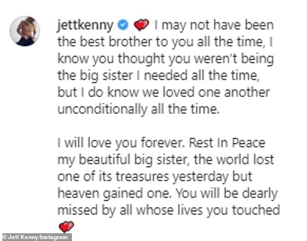 Regrets: The surf lifesaver admitted that he hadn't always 'been the best brother' to Jaimi, who battled an eating disorder for years