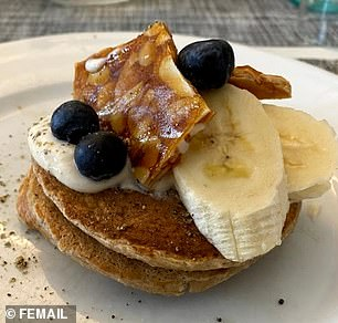 We were treated to oat and banana pancakes (pictured) with peanut brittle, more banana and blueberries on top - made by the camp's head chef Michael