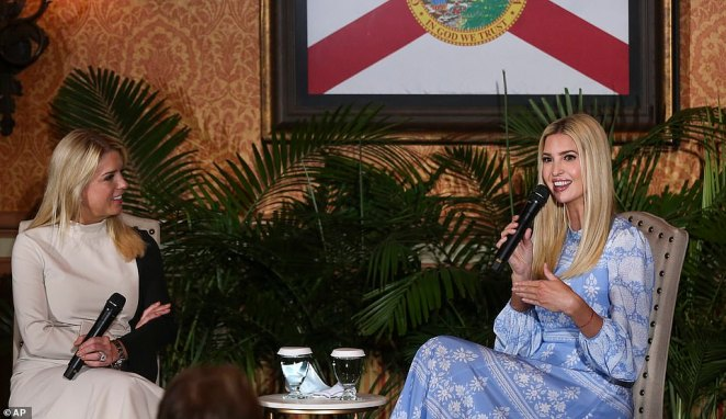 Next stop:Ivanka later joined former Florida Attorney General Pam Bondi at Columbia Restaurant for a 'fireside chat' about small businesses
