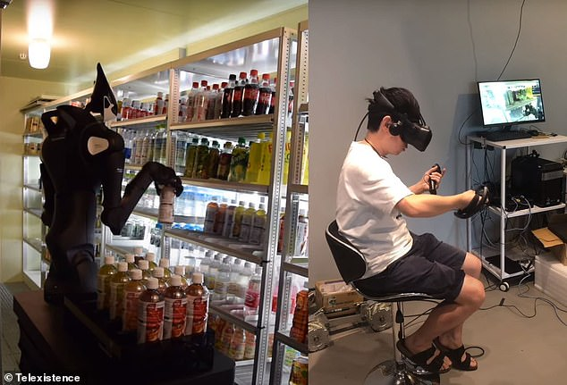 A human operator uses Model T to restocks soda bottles at the FamilyMart in the Toshima Ecomusee Town building five miles away. The chain hopes to have robots in 20 locations by 2022