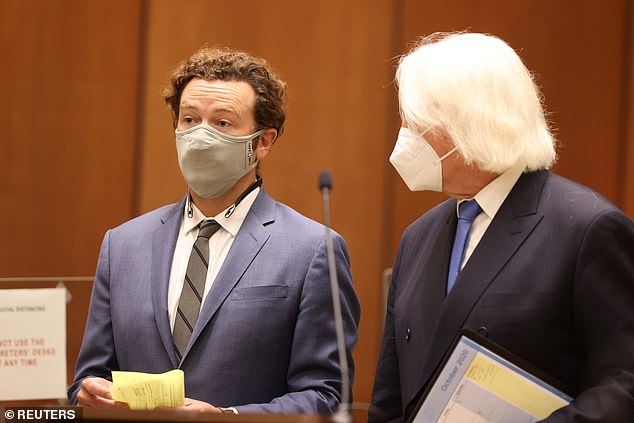 Masterson was seen in a blue suit and gray mask on Friday in the courtroom where he is accused of raping three women