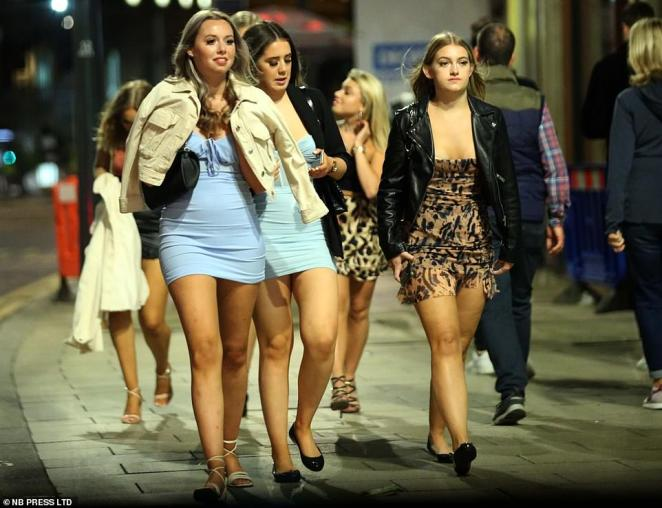 Revellers also headed out tonight in Leeds which does not currently have a local lockdown, but is at risk of one being imposed after a rise in Covid-19 cases