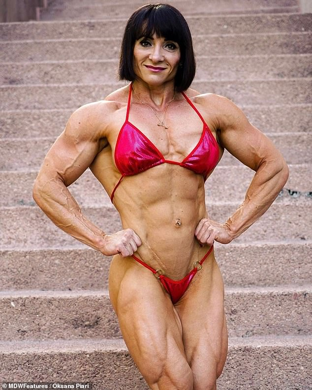 Fit: Oksana Piari, 38, from Russia, is a professional bodybuilder and mother-of-two