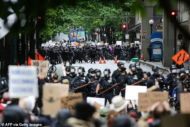 The incident happened on May 30, the first day of protests in Seattle, pictured