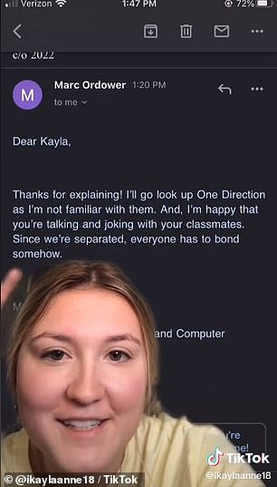 It's all okay: In a follow-up video, Kayla shared her email to her teacher and his response