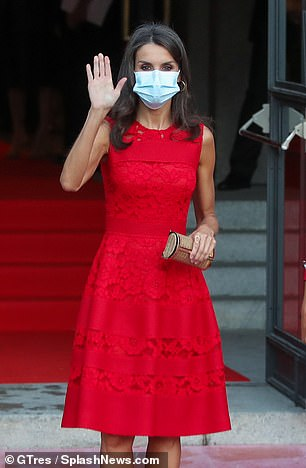 The mother-of-two, who recently returned from a nationwide tour with her husband and daughters, Princess Leonor, 14, and Princess Sofia, 12, looked relaxed as she waved at cameras.