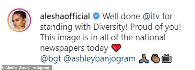 Grateful: The singer, 41, took to Instagram on Saturday to share a snap of the advert, and wrote: 'Well done @ITV for standing with Diversity'