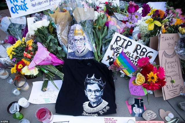 Mourners left hundreds of handwritten messages as well as 'RBG' merch that had become popular among young people in recent years
