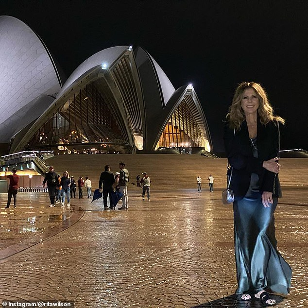 Hanks' wife Rita Wilson shared this photo after she performed at the iconic Sydney Opera House, in New South Wales - the state worst affected by the coronavirus