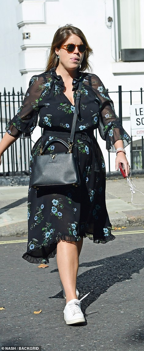 The royal, 30, donned a patterned face mask and round sunglasses as she wondered around the west London streets