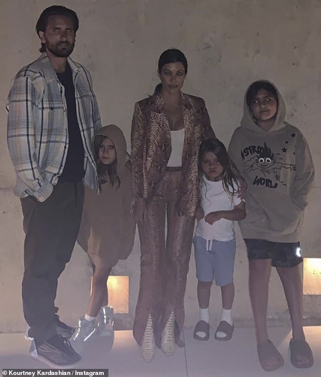 Happy family: Kourtney also shares son Mason Dash, 10, with Scott, 37, whom she dated off and on from 2006 to 2015