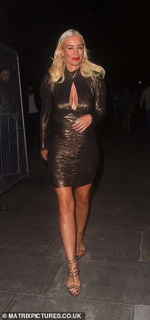 Glam: Denise was later seen wearing a stunning bronze dress