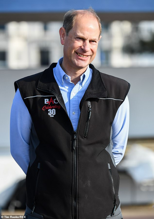 Meanwhile Prince Edward opted for a smart blue shirt with a cosy black gilet for the morning activity