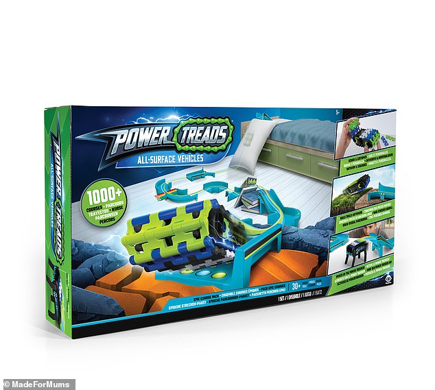 Power Treads is an all- surface vehicle that flips, rips and roams all over your home - and comes with a 22-piece track