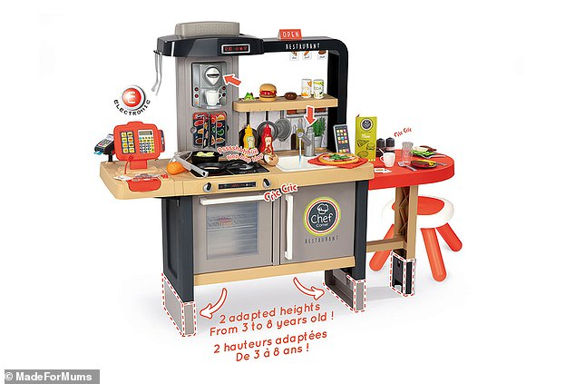 The Smoby chef restaurant is a height-adjustable toy kitchen/cafe for children over three-year-old