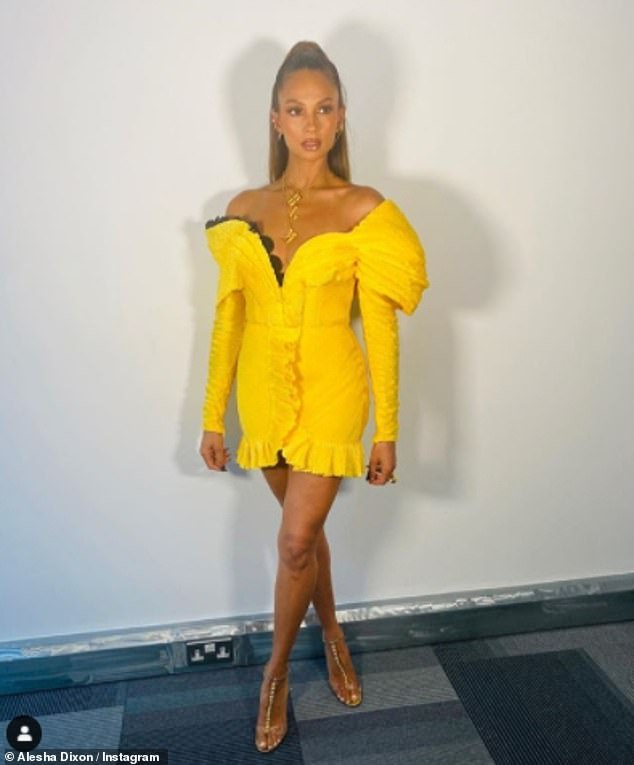 Statement:Taking to her Instagram on Sunday, to share some behind-the-scenes shots of her outfit on Saturday's show, Alesha defiantly showed off the statement item of jewellery